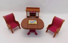Fisher Price Loving Family Dollhouse Dining Room Drop Table Chairs Buffet Tray
