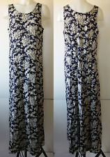 Old Navy Romantic Navy Blue & Ivory Floral Print Sleeveless Rayon Maxi Dress 12