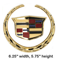 6In Front Grille Emblem Gold Wreath Crest Logo Fit CADILLAC