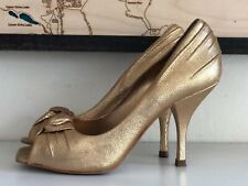 BCBG Girls Gold Peep Toe Retro genuine leather shoes/Heels sz US 5 or 35