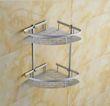 Aluminum Modern Bathroom 2 tier Corner Shelf Holder Basket Storage Wall Mounted