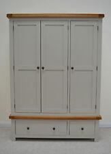 Swainswick Stone Grey Painted Oak Triple Solid 3 Door Wardrobe  Storage drawers
