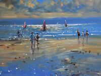 Richard Blowey Original Oil Painting - Windsurfers At Mounts Bay Cornwall