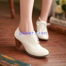 Brogue Womens Oxfords Heel Retro Mesh Leather Pumps Lace Up Shoes All Uk Sz