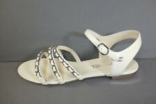 33a384b17 CHANEL 41 10.5 Ivory Lambskin 3 Straps Silver Woven Chain CC Sandals Flats