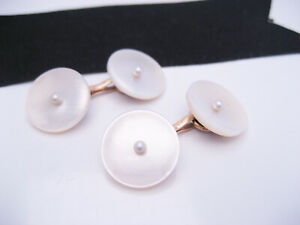 Antique LARTER & SONS 14K Yellow Gold & Mother of Pearl Seed Pearl Cufflinks