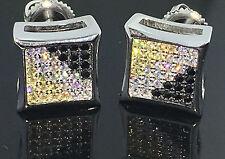 Yellow Black White Lab Made Kite Earrings Men Sterling Silver Screw Back 10mm