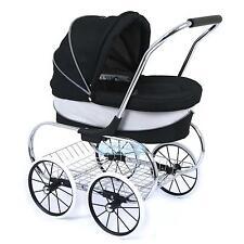 Valco Baby Just Like Mum Deluxe Princess Doll Pram Stroller Raven Pretend Role P