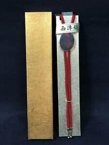 Japanese Nishijin Ori Silk Bolo Tie Luxury Necklace Jewelry Cowboy Metal Alloy