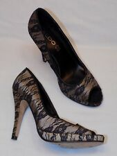 38 ALDO 8 Ladies Womens Black Lace Taupe Shoes High Heels Open toe Peep Dressy