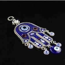 BLUE TURKISH EVIL EYE FENG SHUI PROTECTION BIG HAND HAMSA CHARM MEDALLION HANG