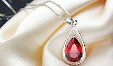 """4CT Red topaz drop diamond 18""""Chain Solid S925 Sterling Silver Love Heart NL38"""