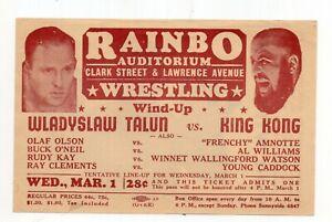 1940s Illustrated Pass to Wrestling Matches Rainbo Auditorium, Chicago