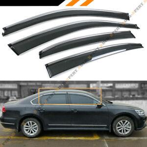 FOR 2012-18 VW PASSAT SMOKE TINTED CLIP ON CHROME TRIM WINDOW VISOR RAIN GUARD