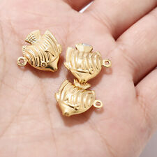 10pcs/lot 304 Stainless Steel Gold Sea Fish Charms for Jewelry Making pendents