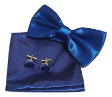 Men square Satin Wedding pocket Hanky Handkerchief + bow tie + cufflinks Set