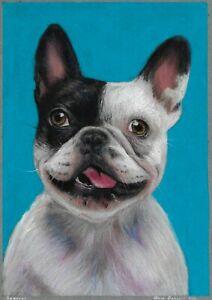 original drawing A4 168DmO art samovar pastel Realism animal dog Signed 2021