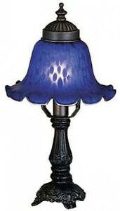 Small Victorian Style Table Accent Lamp w/Indigo Blue Bell Shade, Scalloped Edge