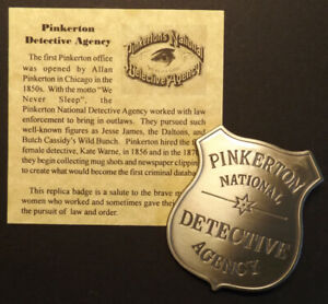 Pinkerton National Detective Agency Badge, boxed, Old West, western