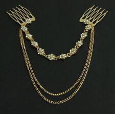 Women Alloy Rhinestone Head Chain Jewelry Headband Comb Piece Hair band party AK
