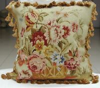 """18"""" x 18"""" Handmade Wool Needlepoint Basket of Flowers Cushion Cover Pillow Case"""