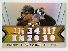 2012 TOPPS TRIPLE THREADS CARLOS GONZALEZ 14 PC JERSEY RELIC #/9 ROCKIES