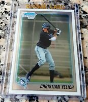 CHRISTIAN YELICH 2010 Bowman CHROME #1 Draft Pick Rookie Card RC Brewers $ HOT $