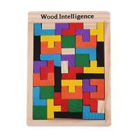 Bunt Hölzern Tetris Puzzle Tangram Rätsel Kinder Puzzle Lernspielzeug Geschenk
