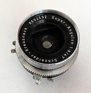 Schneider-Kreuznach Super-Angulon 1:8/47 Lens and Retaining Ring for 4x5