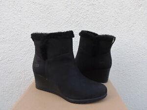 UGG DEVORAH BLACK WATERPROOF LEATHER SHEEPSKIN WEDGE BOOTS, US 11/ EUR 42 ~NIB