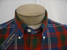 Polo Ralph Lauren Mens Pony Logo L Dress Shirt Button Down Navy Red Madras Plaid