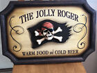 """Jolly Roger Plaque """"Good Food And Cold Beer"""". Wood Carved Jolly Roger Head"""