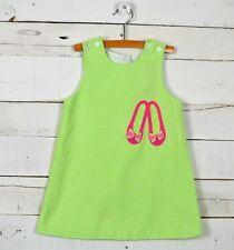 Girls The Bailey Boys Sz 3T Green Sleeveless Dress Pink Slipper Applique