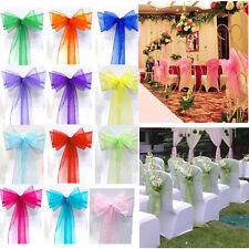 """50 Organza Chair Cover Sash Bows 8""""x108"""" 30 Colors Extra Wide Wedding Sale Usa"""