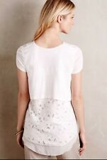 Anthropologie Deletta White Lace Layered Back Pori Top Medium Sm Defect See Phot