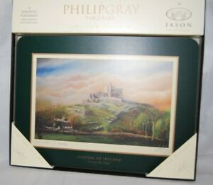 (6) Philip Gray Tableware by Jason Cork Table Placemats CASTLES OF IRELAND EC