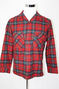 VTG 60s 70s PENDLETON L/S WOOL BOYD TARTAN PLAID Hipster Shirt Red M
