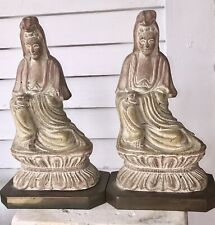 2 Vintage Chinese Import, Guanyin Carved Sculpture-Table Lamp Base&Buddha Statue
