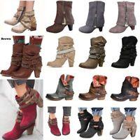 Women's Mid Heel Block Short Ankle Boots Winter Martin Punk Cowboy Botas Shoes