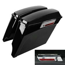Vivid Black Extended Hard Saddlebags For Harley Road King 1993-2013 10 11 12 13