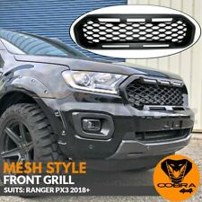 Front Mesh Grill Fits Ford Ranger Matte Black PX3 2018 2019 XLS XLT