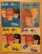 Lot of 4 Vintage Booklets pamphlets for Barbie Dolls, Ken, Midge,