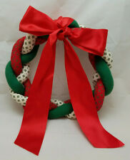 Vintage Stuffables Braided Fabric Wreath W Red Satin Bow Red White Green