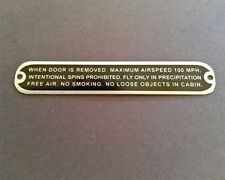 Aeronca Door Removal Placard,  For Flight Without Door, For STC Holders