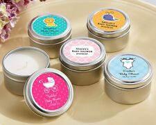 96 Personalized Round Candle Tins Baby Shower Favors