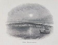 Antigua Impresión Venecia Italia ciudad vista desde lagunas C1870 de barcos Góndola Grabado