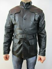 Mens Vtg Designer Gangster Motor Biker Leather Black Trench Jacket Coat sz L J63
