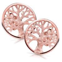 MATERIA Rosegold Ohrstecker Lebensbaum rund - 925 Silber Ohrringe Gold keltisch
