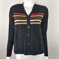 Adolfo Womens Small Lambs Wool Blend Black Autumn V-Neck Cardigan Sweater NWT