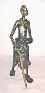 Vintage Metal Sculpture African Masai Figure with staff